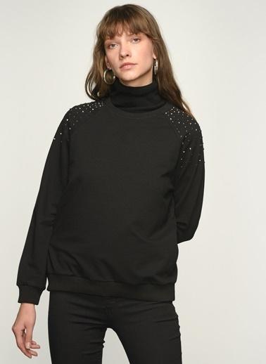 NGSTYLE NGKAW21SW0038 Boncuk İşlemeli Sweatshirt Siyah